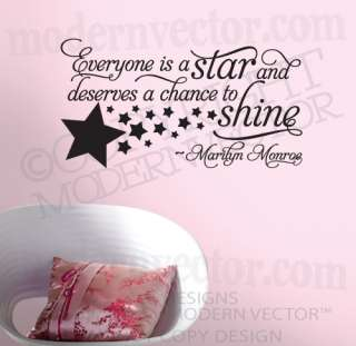 MARILYN MONROE Quote Vinyl Wall Decal EVERYONE ISA STAR