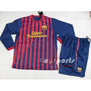 new red blue barcelona 11 12 home long sleeve shirts 2011 2012 soccer