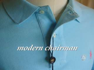 Ralph Lauren Mens Hammond Blue Mesh Polo Shirt NWT $75 Pink Pony Logo