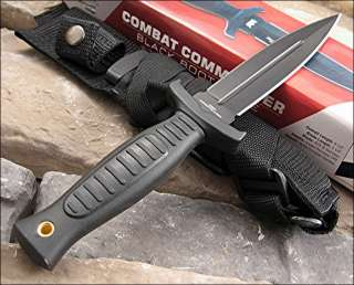 United Combat Commander Boot Knife AUS 8 Stainless Black Double Edge