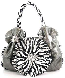 NEW RHINESTONE ZEBRA FLOWER HOBO HANDBAG PURSE PEWTER
