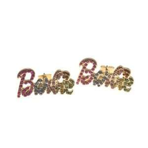 NICKI MINAJ BARBIE Post Rhinestone Earring Gold Multi