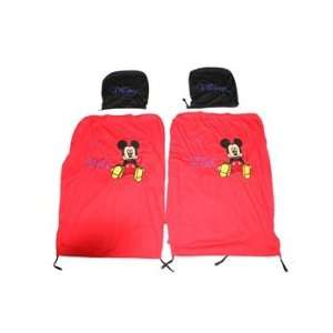 Cute Mickey Pattern Cotton Embroidery Car Seat Covers Set Electronics