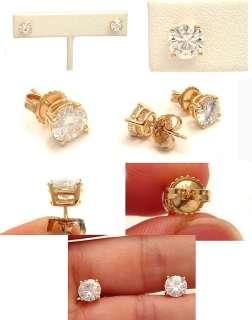 MODERN DESIGNER 2CTW ROUND MOISSANITE LAB DIAMOND 14K SOLID GOLD STUD