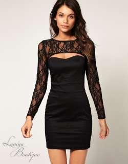 Black Lace Peekaboo Bodycon Cocktail Dress Sz 14 Evening Party