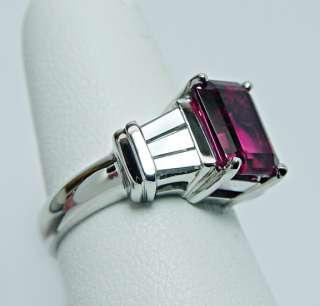 Rubellite Tourmaline Baguette Diamond Platinum Ring 12.5g HEAVY Estate