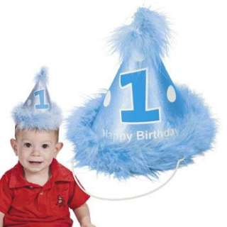 Baby Boy Blue 1st Birthday Party Cone Hat Feathers First Momento