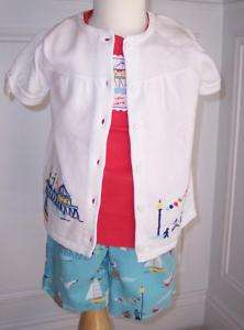 Janie Jack Yacht Party Girls Set Shorts Top Sweater 3T