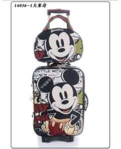 Mickey Mouse Luggage Bag Baggage Trolley Roller Set
