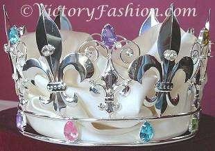 312 Kings Royal Crown Silver tone metal faux Jewels