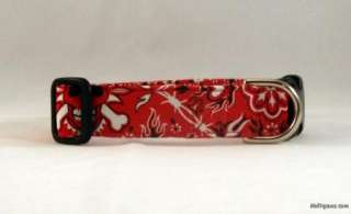 Red Bandanna with Skulls & Cross Bones Dog Collar Leash