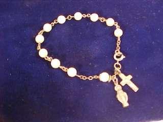 11 Pearl Sterling Silver Jesus & Cross Charm BRACELET