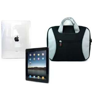 Clear Full Body Skin Hard Shell Cover + Black Case TAG Bag for iPad
