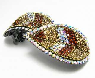 LEAF HAIR BARRETTE CLIP PONY HOLDER AUSTRIAN RHINESTONE CRYSTAL LG
