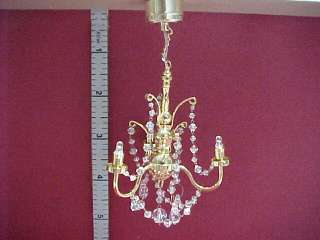 Battery Operated Crystal Chandelier #C16 Dollhouse Mini