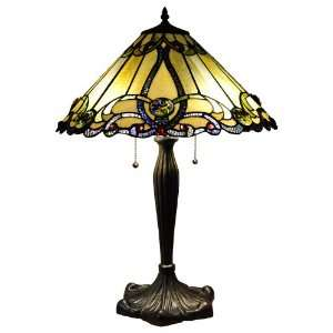 Amber Tiffany Style Victorian Design Table Lamp 18 Shade