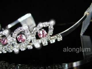 Pink Wedding Bridal Bridesmaid Swarovski Crystal Rhinestone Prom Tiara