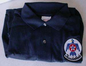 USAF T Birds Thunderbirds Dark Blue Polo Shirt Size S