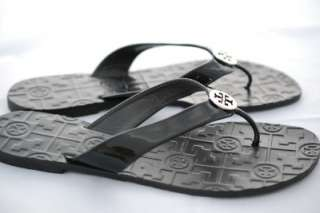 Tory Burch Thora Black Patent Leather Silver Logo Thong Sandals Size 7