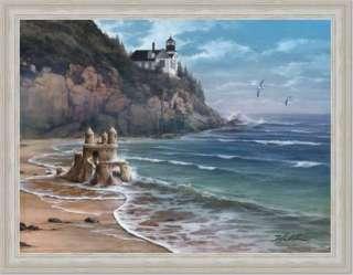 Sand Castle Lighthouse Beach House Decor Print Framed