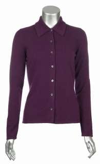 Sutton Studio Womens 100% Cashmere Button Front Shirt Sweater   PS, S
