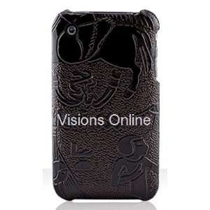 Slim Iphone Hard Case Leather Egyptian Theme Dark Brown Electronics