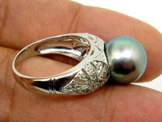 HEAVY 18KW GOLD DIAMOND RING W/ GORGEOUS TAHITIAN PEARL