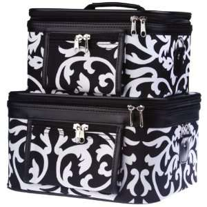 Toiletry 2 Piece Luggage Set Black & White Damask Floral Print Beauty
