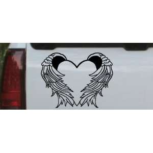 6in X 7.8in Black    Heart With Wings Car Window Wall Laptop Decal