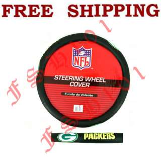 Brand New Simulated Leather NFL Green Bay Packers Steering Wheel Cover