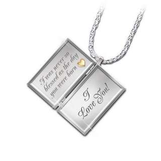 Bradford Exchange Dear Daughter Letter Of Love Engraved Diamond Locket