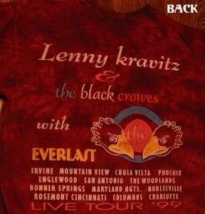 Lenny Kravitz Black Crowes Tour 99 T Shirt L