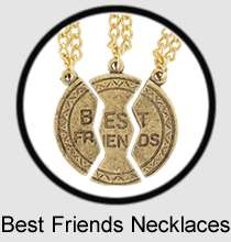 Necklace BFF 3 Part Best Friends Silver Tone Pendant