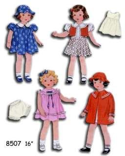 8507 Doll wardrobe pattern 16 Patsy Ann   Shirley