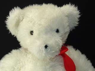 BIG WHITE PLUSH TEDDY BEAR RED BOW LONG HAIR STUFFED ANIMAL TOY