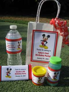 Mickey Mouse Personalized Large Vertical Favor Tag (on treat bag