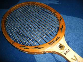 BILLIE JEAN KING OLD VINTAGE ANTIQUE WILSON WOOD TENNIS RACKET LEATHER