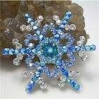 Blue Swarovski Crystals Snowflake Brooch Pin Xmas Gift