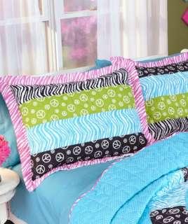 Teen Tween Peace Sign Animal Print Zebra Patchwork Quilt Bed Cover