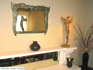 Art Deco Birds Art Accent Wall Mirror ~ Antiqued Green