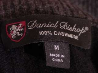 DANIEL BISHOP 100% CASHMERE MENS MEDIUM 1/2 ZIP BLACK CABLEKNIT