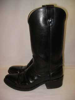 VTG MENS BLACK LEATHER COWBOY BOOTS EXCELLENT 8 D
