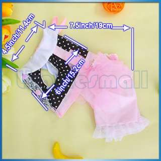 Pink Black Pet Dog Jumpsuit Pants Clothes Apparel Pearl