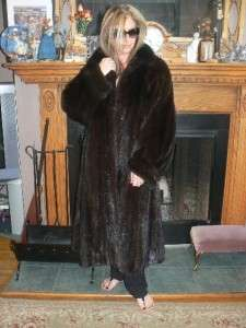 Beautiful Full Length Mahogany Mink Fur Coat XL