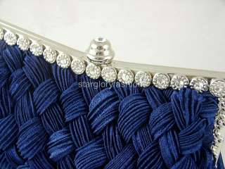 Royal Blue Weaved Satin Crystal Frame Wedding Clutch Bag 13 Colors