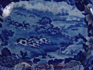 Staffordshire Fox Hunting Platter Dark Blue Dogs Horse Bird Floral