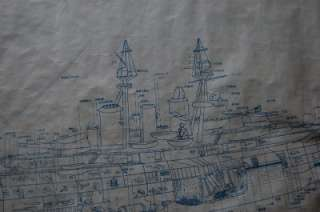 Large WWII Japanese Navy Battleship Cut Away Blueprint