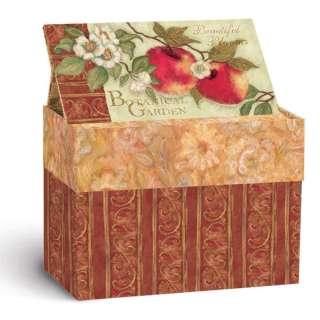 LANG BEAUTIFUL BLOOMS APPLES RECIPE CARD BOX, NEW