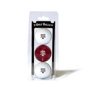 Texas A&M Aggies TAMU NCAA Team Logo 3 Golf Ball Pack
