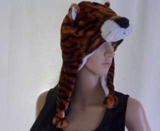 Plush TIGER Fluffy Warm Stuffed Animal HAT with Ear Warmers New 100%